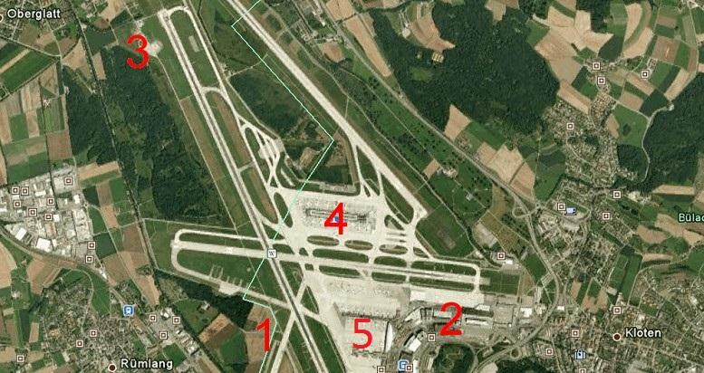 Spotter Zürich: Spotter-Positionen Flughafen Zürich